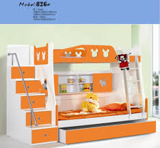 bedroom chic children bunk beds with stairs in orange and white