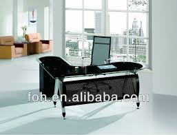 Glass Office Furniture Desk Big L Shaped Modern Design Glass Executive Office Table Manager