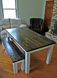 ebony stained farmhouse dining table and bench libertasfurniture