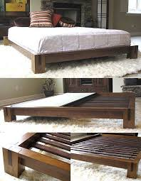 Tatami Platform Bed Frame Honey Oak Finish Splayed In Indigos And Walls For