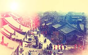future village wallpapers asian architecture china cityscapes lanterns market streets