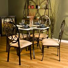 Glass Dining Table Sets by Decoration Ideas Inspiring Cream Leather Pad In Black Iron Dining