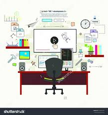 Programmer Desk Setup Professional Programmer Working Desk Setup Opened Stock Vector