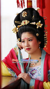 traditional tang dynasty black wig and hair accessories