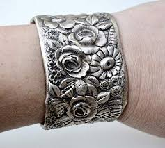 antique sterling silver bracelet images Victorian antique floral tiffany cuff bracelet art jpg