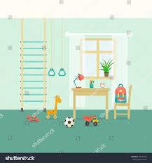 preschool student kid room interior stock vector 380148220