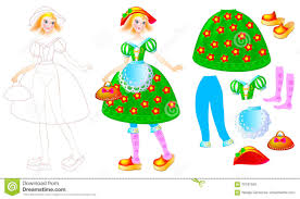 exercise for children to draw and paint beautiful dress for the