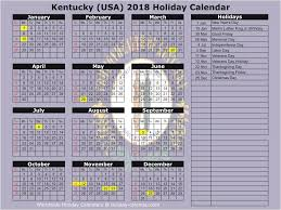 kentucky usa 2018 2019 calendar