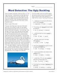 word detective ugly duckling context clues worksheets for 2nd