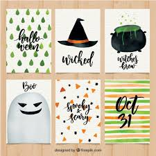 fun variety of watercolor halloween cards vector free download