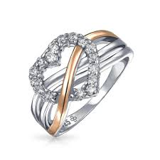 heart style rings images Sterling silver pave cz heart ring rose gold plated accent jpg