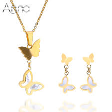 customized charms aliexpress buy a n butterfly statement gold filled shell