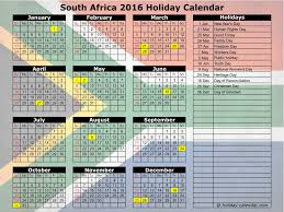 2016 calendar with holidays south africa