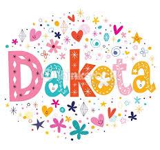 dakota girls name decorative lettering type design vector art