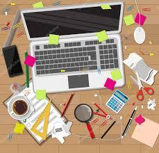 Schreibtisch Aus Holz Chaos Schreibtisch Aus Holz Chaos Auf Tisch U2014 Stockvektor 123227228