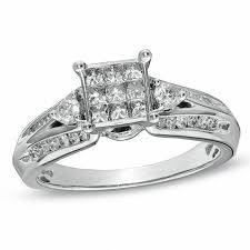 engagement rings cut images 3 4 ct t w princess cut composite diamond engagement ring in 10k jpg