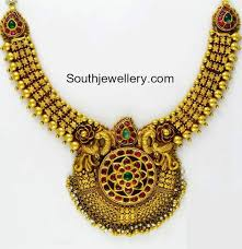 antique jewelry necklace images Antique gold necklace with peacock pendant jewellery designs jpg