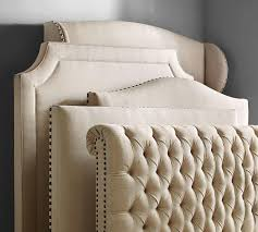 chesterfield upholstered bed u0026 headboard pottery barn