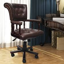 swivel captains chair brown real leather chesterfield captains swivel office chair