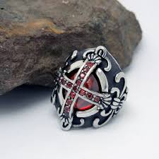 gothic ruby rings images The new retro gothic vampire cross ring jewelry ruby ring steel jpg