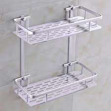 fashion dual tier bathroom corner shelf basket aluminum alloy