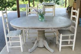 white and gray dining table image of small outdoor dining room decoration using rustic oval