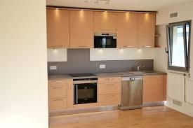 cuisine en chene moderne cuisine aspect bois clair et plan de travail gris cuisishop image