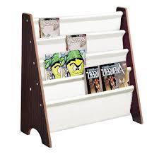 Sling Bookcase White by Kids Bookcase Children Bookshelf Wooden Canvas Book Magazine
