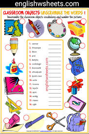 Schlafzimmer Englisch Vokabeln Classroom Objects Esl Printable Unscramble The Words Worksheets
