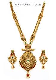 gold antique necklace set images 22k gold long antique necklace ear hangings set with stones 22 jpg