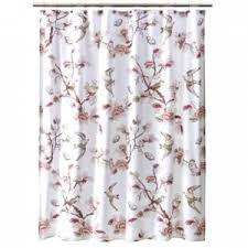Shower Curtains With Birds Home Botanical Bird Pink Fabric Shower Curtain