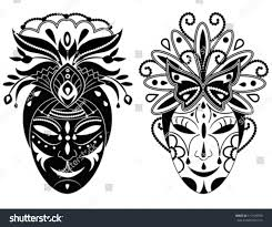 decorative masks two graphic black white decorative masks stock vector 119125978