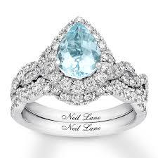 aquamarine wedding neil aquamarine bridal set 1 ct tw diamonds 14k white gold