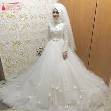 wedding dresses online shopping white tulle muslim wedding dresses 3d flower modern bridal
