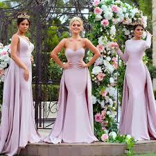 elegant light purple long sleeve bridesmaid dresses mermaid satin