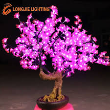 mini miniature lighted led cherry blossom bonsai tree light view