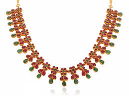 red stones gold necklace images Classic floral red and green stone gold necklace png