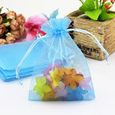 tulle bags 100pcs lot light blue organza bags 7x9cm small tulle jewelry pouch