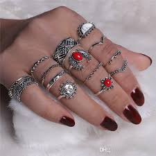midi rings set vintage midi rings set 2018 antique silver color white