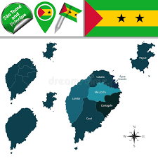 map of sao tome map of sao tome and principe with named districts stock vector