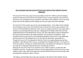 Council Of Trent Reforms How Important Was The Council Of Trent To The Reform Of The