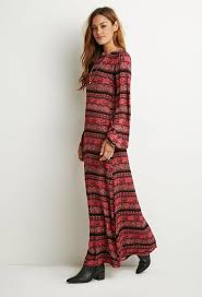 forever 21 striped floral maxi dress in red lyst