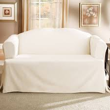 furniture modern love seat sofa with cream fabric slip cover with