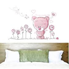 compare prices on pink baby rooms online shopping buy low price cut pink cartoon bear flower heart pattern wall decals pvc removable wall sticker for baby girls