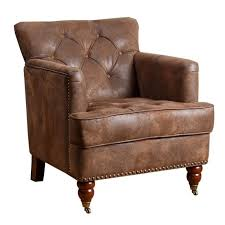 Black Leather Accent Chair Abbyson Living Misha Tufted Fabric Accent Chair In Antique Brown