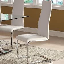 White Leather Dining Room Chair by Amazon Com White Faux Leather Dining Chairs With Chrome Legs