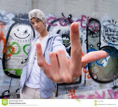Cool Looking - cool looking in front of graffiti royalty free stock