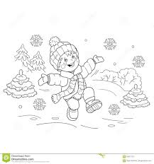 coloring page outline of cartoon boy jumping for joy first snow