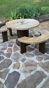 outdoor tables made out of wooden wire spools spool table my husband built this for me out of an old spool i use