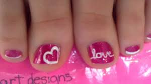 valentines love toenail art tutorial youtube